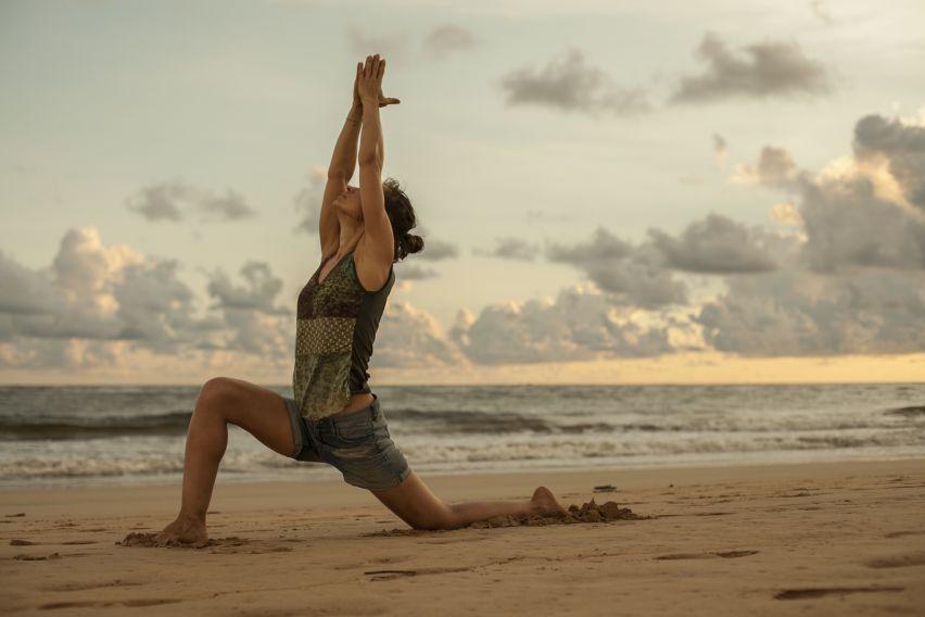 joga, stres, zdrowie, lato, plaża