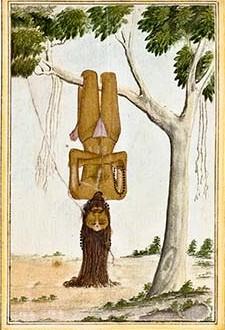Asceta praktykujący tapas w pozycji vagguli-vata, pokuta nietoperza, zwana również tapkar-āsan. Rycine z I-szej połowy XIX w. Zdjęcie www.britishmuseum.org