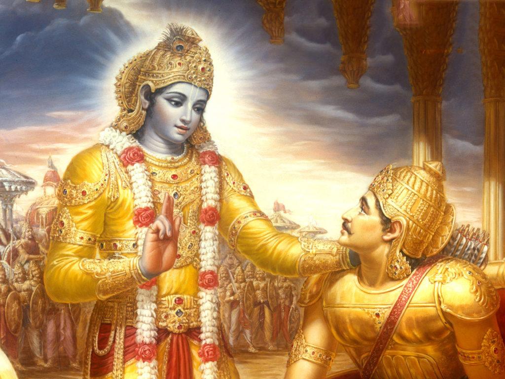 Kryszna tłumaczy Ardźunie zasady jogi w słynnym dziele Bhagavadgītā. Zdjęcie - www.deccanchronicle.com